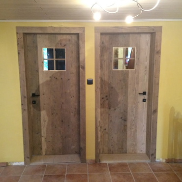 Binnendeur in gebruikt steigerhout, old barnwood, oude eik, ... 5