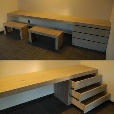 Bureau op maat in gebruikt steigerhout indoor meubelen for Steigerhout op maat