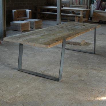 Industriele Tafel Sloophout.Tafel Slomet In Sloophout Of Eik Metaal Industrieel Tafels