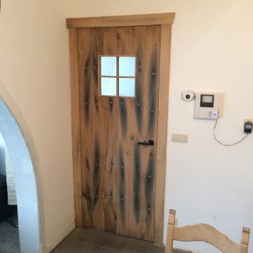 Binnendeur in gebruikt steigerhout, old barnwood, oude eik, ... 6