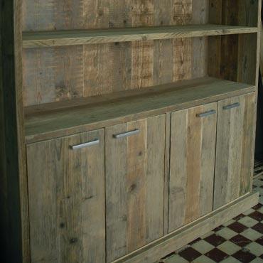 Boekenkast 2ii in oud steigerhout kasten indoor for Boekenkast steigerhout