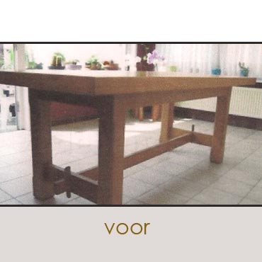 Tafelbladen in gebruikt steigerhout / wit spuiten onderstellen