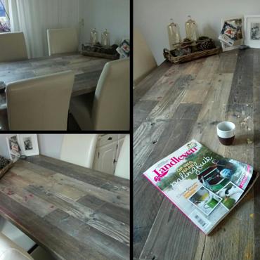 Tafelbladen in gebruikt steigerhout / wit spuiten onderstellen 6