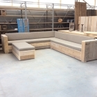 Hoek loungebank + kussens + hocker