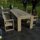 Tafel + bank + 3 stoelen in gebruikt steigerhout
