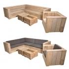 Hoekset Lounge Massief in oud steigerhout