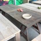 Eiken tafelblad + schragen