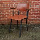 4 industriele stoelen 'vintage' metaal + hout