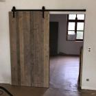 Schuifdeur in gebruikt steigerhout, old barnwood, ...