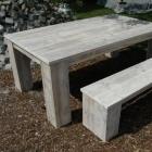 Tafel extra breed + bank in gebruikt steigerhout, behandeld