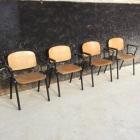 6 industriele stoelen 'vintage' hout