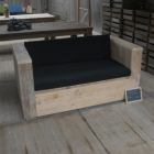 Loungebank 1m55 + zwarte kussens